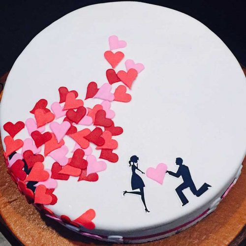 Simple and Romantic Proposal Cake